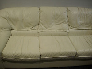 Cream Leather 3 person couch for sale