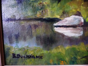 """Original Oil Painting by Blanche Ducharme """"Peaceful Pond"""" 1960's Stratford Kitchener Area image 5"""