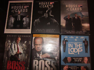 House of Cards (Seasons 1-3) & Boss (Seasons 1-2) politics DVDs