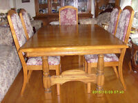 Solid Oak Dining Table and Six Chairs - $680