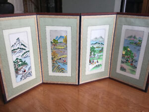 South Korean 4 panel embroidered silk screen