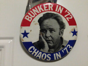 ARCHIE BUNKER FOR PRESIDENT BUTTON 1972 - PARKER PICKERS -