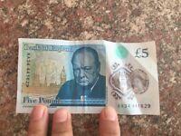 RARE £ 5 note AA34 441629