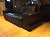Dfs Large Brown Leather 3 Seater Sofa + Armchair Good Condition