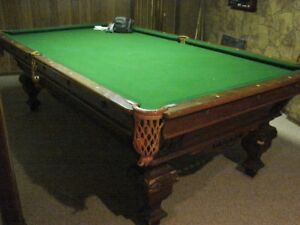 SAMUEL MAY & CO. 4 X 9 BOSTON POOL TABLE (OVER 100 YRS OLD)