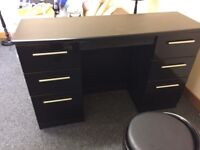Black dressing table and matching stool