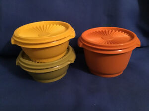 Vintage Retro Tupperware Containers Yellow Green Orange