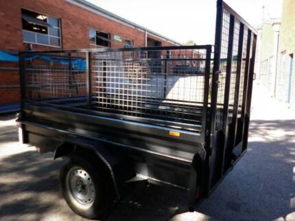 8x5 brand new high side box trailer+cage with ramp