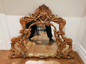 Beautiful Indian Style Wooden Frame Hall Mirror
