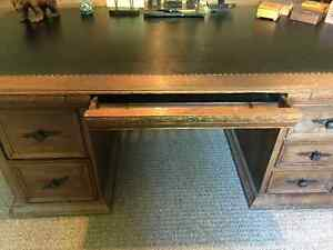 Early 20th Century Solid Oak 72 inch Leather Top Executive Desk Kingston Kingston Area image 6