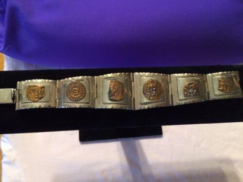 Vintage Taxco Aztec Warrior Sterling Silver 925 Bracelet - $69.99