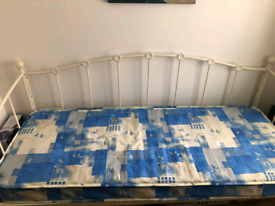 Single bed , cream metal day bed with mattress