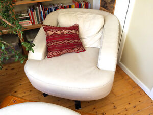Leather 'Slouch' Chair and Oval Ottoman – Canadian Made
