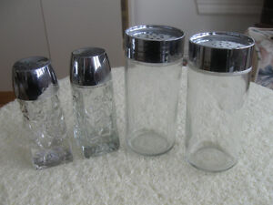2 Pr. FAMILY-SIZED CLEAR GLASS SALT and PEPPER SETS