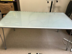 Beautiful frosted glass-top dinning table
