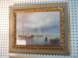 Signed original oil painting of fisherman with boats