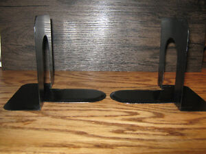 EACH -- TWO SETS OF BLACK METAL BOOKENDS