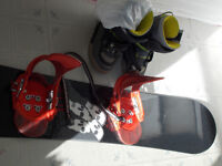 Snowboard with Clip-in bindings and boots
