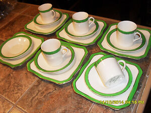 vaisselle antique Queen Green Solian Ware pottery dishes #3219