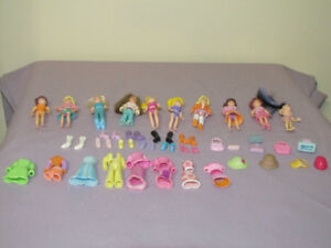FOR SALE 10 POLLY POCKET DOLLS WITH EXTRA CLOTHES & OTHER STUFF