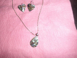 abalone set in sterling silver 925-- pendant and earrrings.. 10.