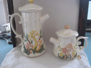 2 Vintage Large and Small Arnels Mushroom Ceramic Teapots Set