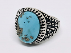 Old Rare Feroza|Turquoise Mens Sterling Silver 925,Handmade Ring