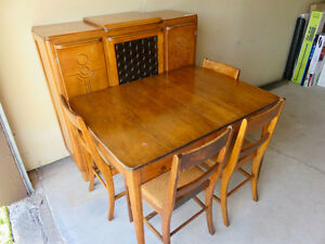 Antique Dining Table, 4 Chairs & Buffet