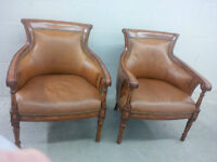 LEATHER ARMCHAIRS, TWO for $800