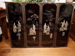 4 vintage Japanese panels with alabaster carvings $25 per panel