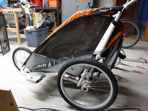 Chariot Cougar 2 with bike, ski and jog attachments
