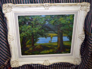 Antique Original Painting signed Frank Shirley Panabaker. Canvas