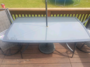 Large glass outdoor table