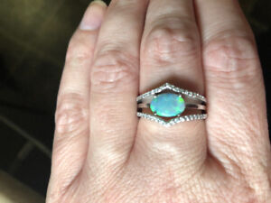 Black Opal and Diamond Stack Ring