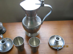pewter decanter and candle holders