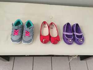 3 Pairs of Toddler Girl Shoes - size 7