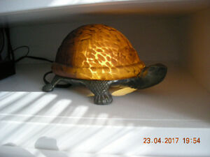 Vintage Brass and Amber Glass Shell Turtle Lamp