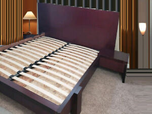 KING Bed set, EQ3 Bed Frame with 2 Nightstands + Mattress for sale  Calgary