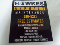 Asphalt repairs , sealing and line painting