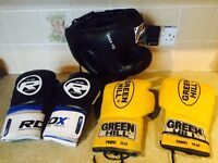 Boxing Gloves and Head Guard