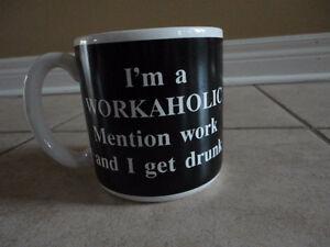 I'm a Workaholic black/white jumbo coffee mug gift London Ontario image 10