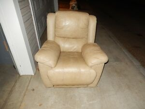 Leather recliner $150,Queen size wooden bed frame $99 can delive