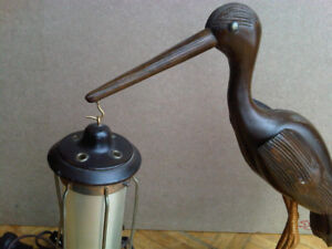 Antique Wooden Bird Lamp