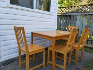 Ikea Wooden Table and 4 chairs