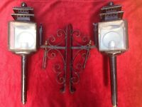 Pair of early 20th century coach lamps