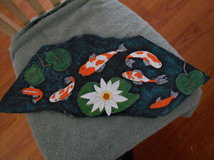 Hand painted Koi pond on a slab of rock
