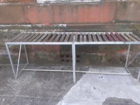 Large aluminium planting/potting table