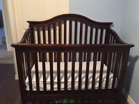Solid wood 3 in one crib