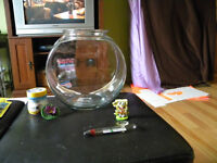 Glass fish bowl and accessories
