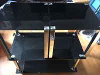 Set of 3 Black and Chrome Coffee and Side Tables